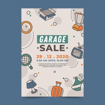 Tema de plantilla de póster de venta de garaje