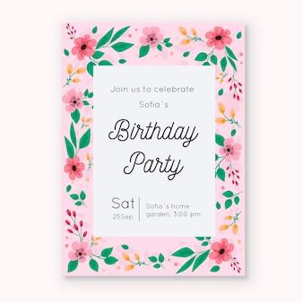 Tema de plantilla de tarjeta de invitación de cumpleaños floral