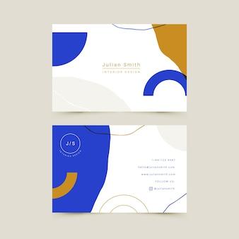 Tema de plantilla de tarjeta de visita azul clásico abstracto
