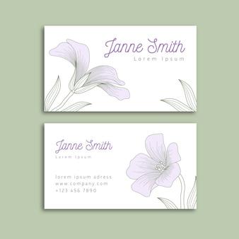 Tema de plantilla de tarjeta de visita floral realista dibujado a mano