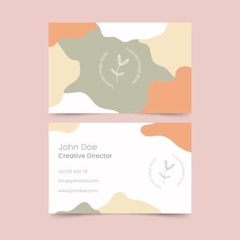 Tema de plantilla de tarjeta de visita con manchas de color pastel