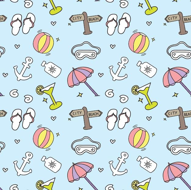 Tema de playa doodle ilustración de vector de fondo sin fisuras