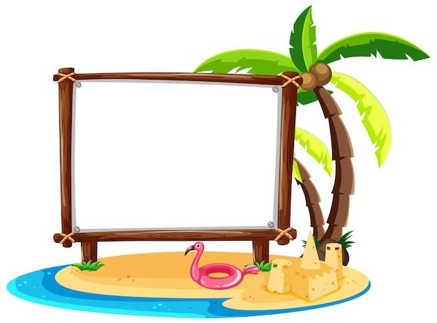 Tema de playa de verano con banner vacío aislado en blanco
