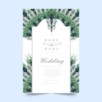Tema de plumas de pavo real para el concepto de invitación de boda
