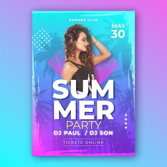 Tema de póster de fiesta de verano