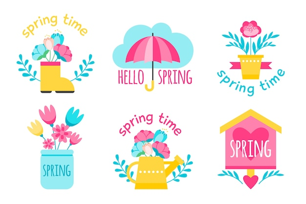Tema de primavera para la colección de etiquetas