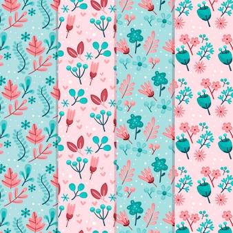 Tema de primavera de diseño plano para colección de patrones