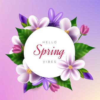 Tema realista de marco floral de primavera