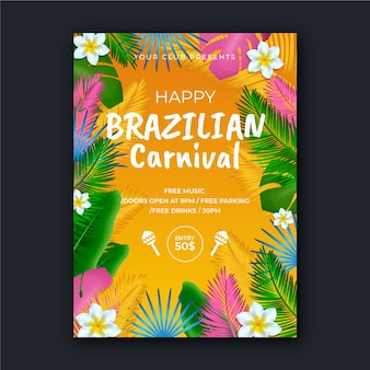 Tema realista para la plantilla de póster de carnaval brasileño