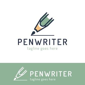 Tema de redacción, copywrite y publicación. plantilla de logotipo dibujado a mano, una pluma. para identidad empresarial y marca, para escritores, redactores y editores, blogueros.