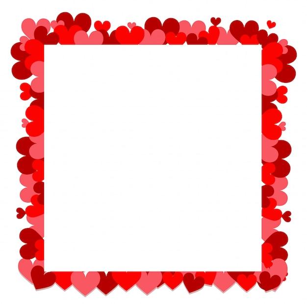 Tema de san valentín con pequeños corazones rojos alrededor del marco