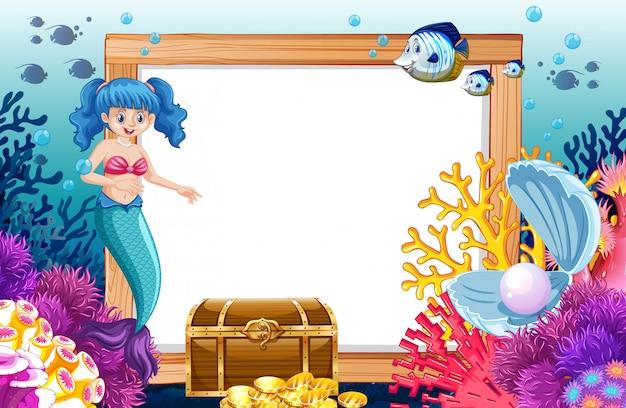 Tema de sirena y animal marino con estilo de dibujos animados de banner en blanco en el fondo del mar