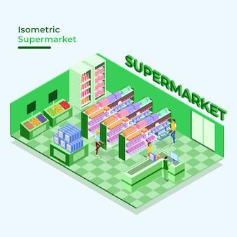 Tema de supermercado isométrico