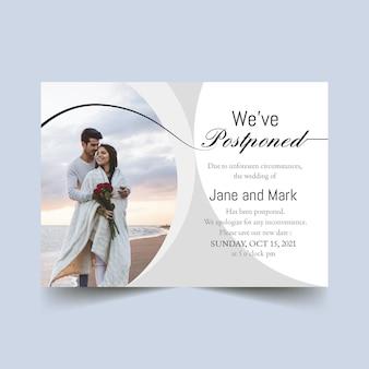 Tema de tarjeta de boda pospuesto
