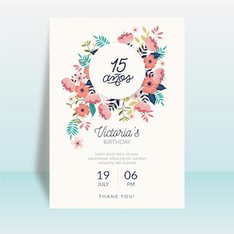 Tema de tarjeta de feliz cumpleaños floral