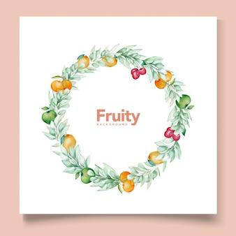 Tema de tarjeta de fondo de frutas acuarela