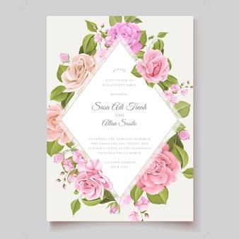 Tema de tarjeta de invitación floral acuarela
