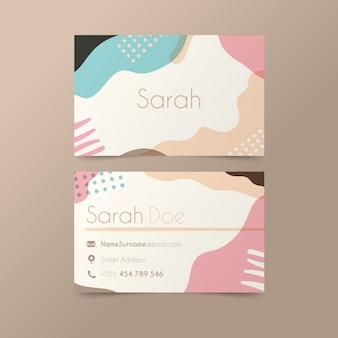 Tema de tarjeta de visita con manchas de color pastel