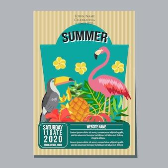 Tema tropical de plantilla de cartel de vacaciones de festival de playa de verano