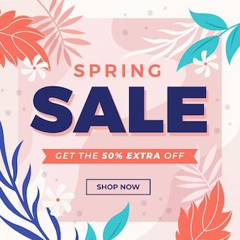 Tema de venta de primavera de diseño plano