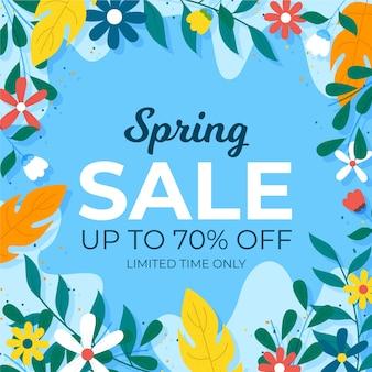Tema de venta de primavera promocional de diseño plano