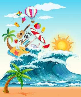 Tema de verano con grandes olas y sol