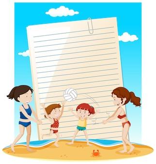 Tema de verano de plantilla de nota de papel en blanco