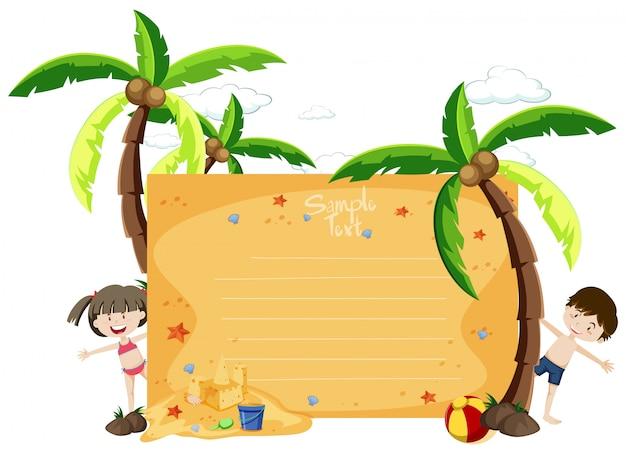 Un tema de verano de tarjeta de texto