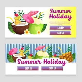 Tema de verano web banner colorido con ilustración de vector de bebida cóctel