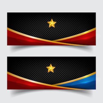 Temas de banner de superhéroe para web. con botón rojo azul y estrella