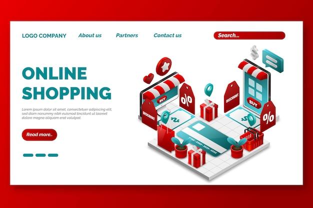Tempalte de página de inicio de compras en línea isométrica