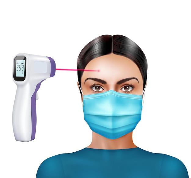 La temperatura del termómetro infrarrojo comprueba la composición realista con un personaje femenino en una máscara con un termómetro digital y una ilustración de rayos