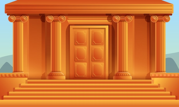 Templo griego de dibujos animados con columnas, ilustración vectorial