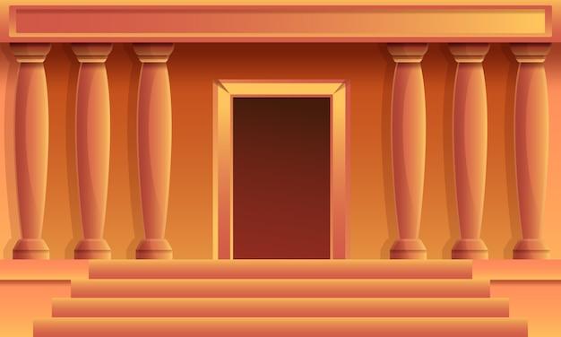 Templo griego de dibujos animados con columnas, ilustración