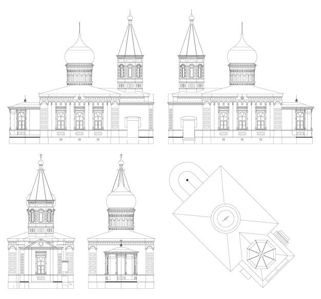 El templo de la iglesia ortodoxa rusa, un dibujo en líneas, vistas desde todos los lados.