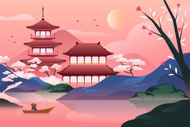 Templo japonés degradado con lago