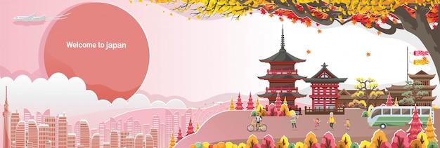 Templo kiyomizu. paisaje histórico de japón. panorama del edificio. paisaje de otoño feliz caída de personas.