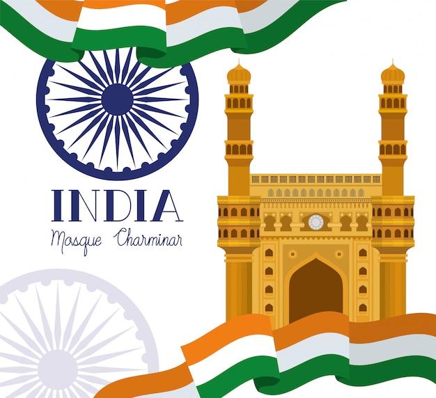 Templo de la mezquita india chaminar con bandera
