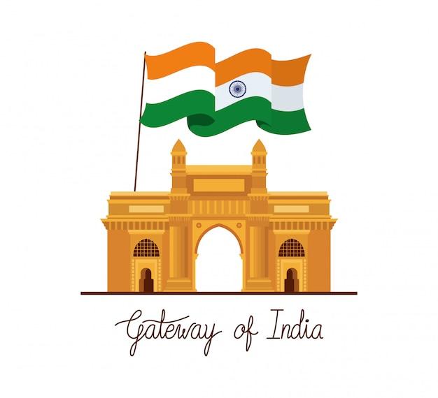 Templo de la puerta india con bandera