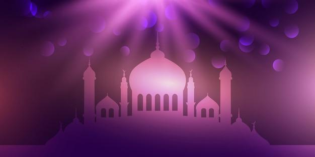 Templo púrpura para diseño de eid mubarak.