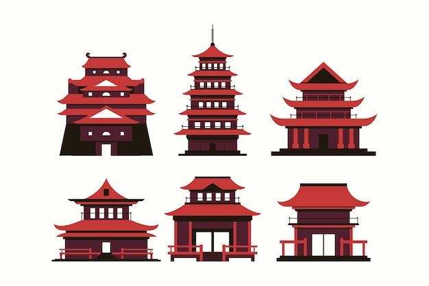 Templos japoneses en diseño plano.