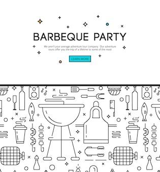 Temporada de barbacoa, cartel de anuncio de fiesta de apertura con accesorios de barbacoa.