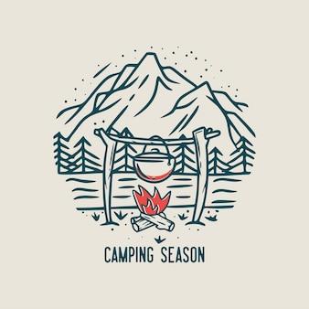 Temporada de camping con fogata, árboles y montaña ilustración vintage