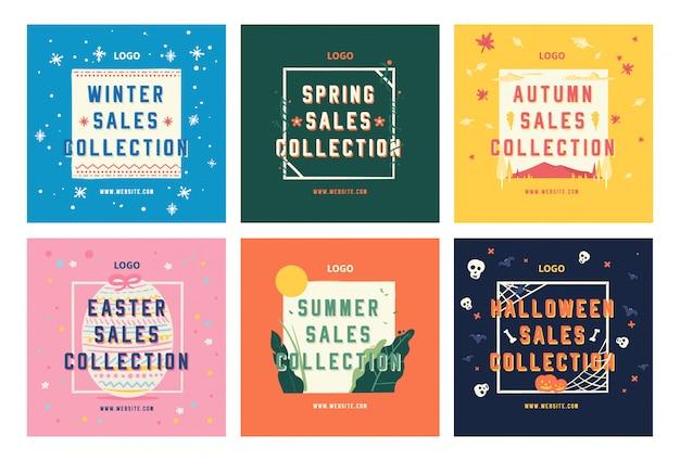 Temporada de compras, venta de redes sociales, colección de plantillas.