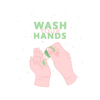 Temporada de gripe, lávese el cartel de la mano. higiene de manos, imprimir con cita lavarse las manos. ilustración de manos limpias icono de desinfectante.