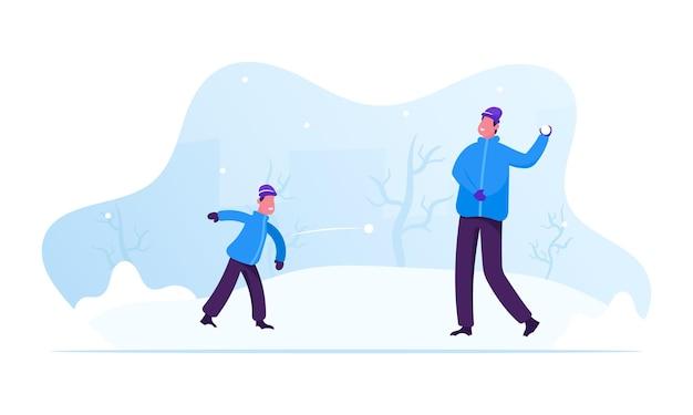 Temporada de invierno actividades y ocio al aire libre. ilustración plana de dibujos animados