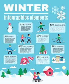 Temporada de invierno al aire libre infografía elementos cartel