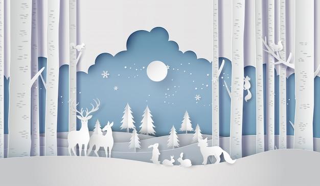 Temporada de invierno bosque escena