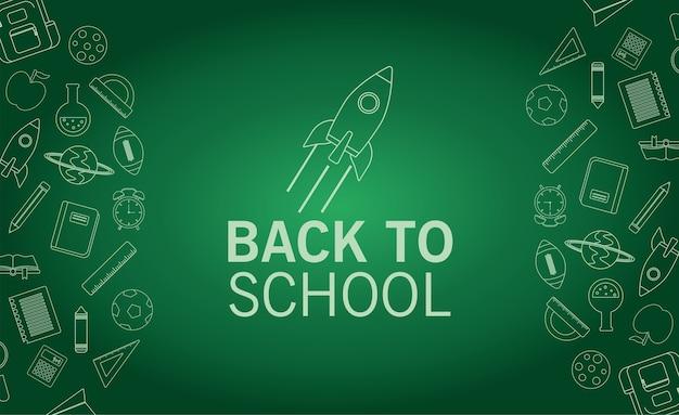 Temporada de letras de regreso a la escuela con cohete en el fondo de chalboard