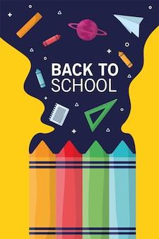 Temporada de letras de regreso a la escuela con crayones y flujo de suministros